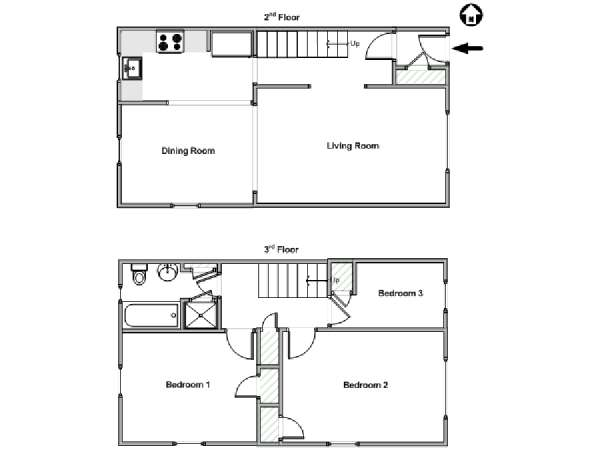 New York 3 Bedroom roommate share apartment - apartment layout  (NY-18039)