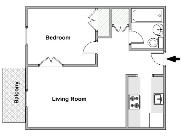 New York 1 Bedroom apartment - apartment layout  (NY-18076)