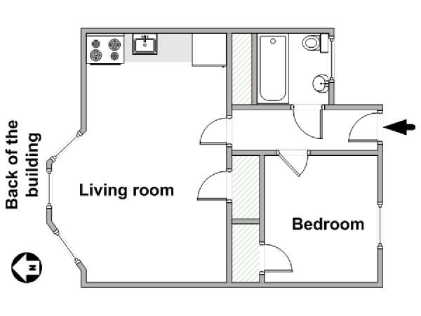 New York 1 Bedroom apartment - apartment layout  (NY-18132)