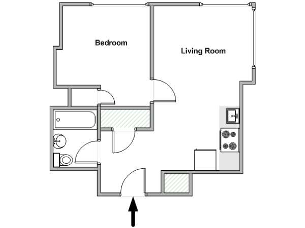 New York 1 Bedroom apartment - apartment layout  (NY-18150)