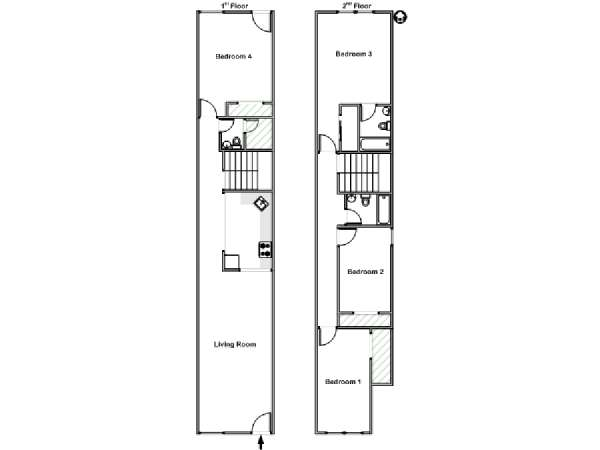 New York T5 appartement colocation - plan schématique  (NY-18156)