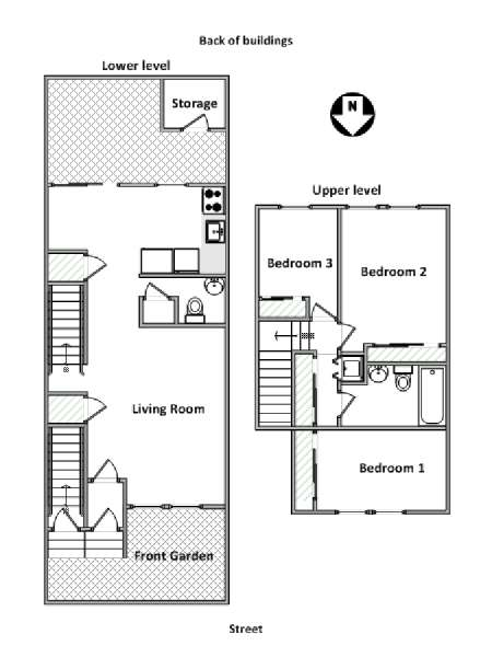 New York T4 - Duplex logement location appartement - plan schématique  (NY-18171)