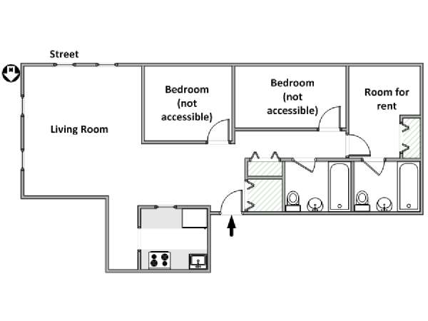 New York 3 Bedroom roommate share apartment - apartment layout  (NY-18182)
