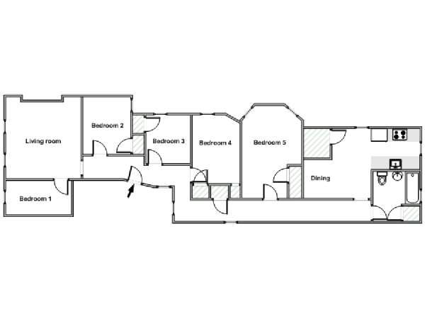 New York 5 Bedroom roommate share apartment - apartment layout  (NY-18196)