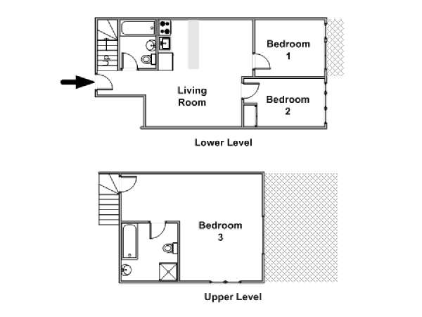 New York 3 Bedroom - Penthouse apartment - apartment layout  (NY-18234)
