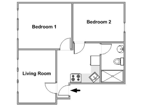 New York 2 Bedroom roommate share apartment - apartment layout  (NY-18242)