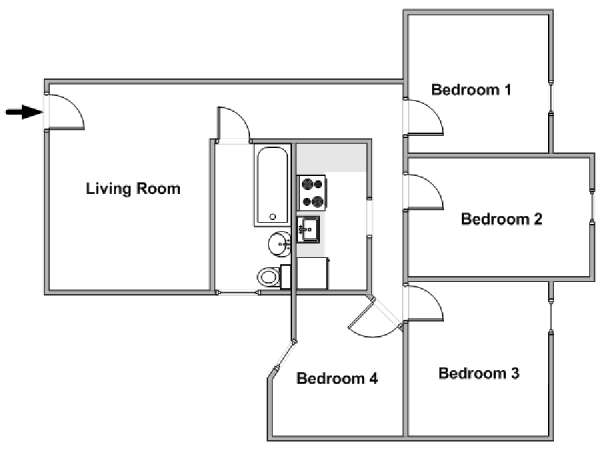 New York T5 appartement colocation - plan schématique  (NY-18252)