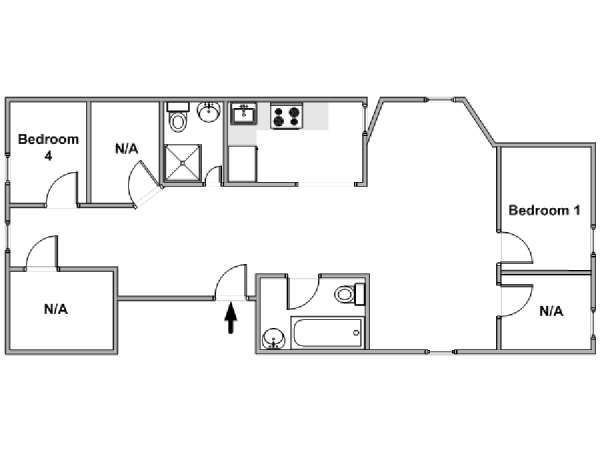 New York T5 - Loft appartement colocation - plan schématique  (NY-18262)