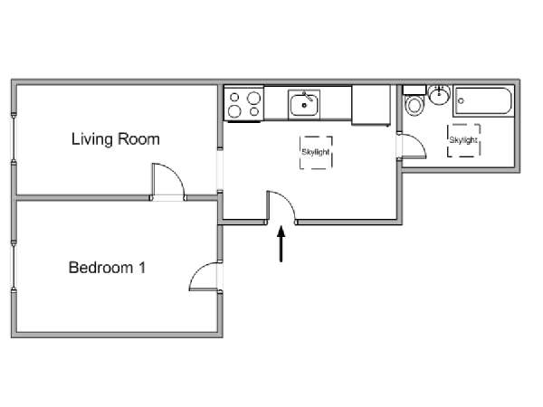 New York 1 Bedroom apartment - apartment layout  (NY-18341)