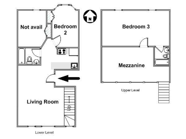 New York 2 Bedroom - Duplex roommate share apartment - apartment layout  (NY-18422)