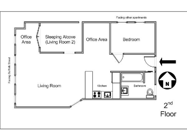 New York 1 Bedroom apartment - apartment layout  (NY-2821)