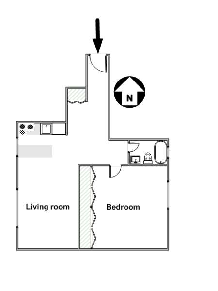 New York 1 Bedroom apartment - apartment layout  (NY-3007)