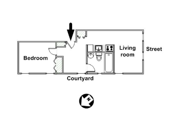 New York 1 Bedroom apartment - apartment layout  (NY-3203)