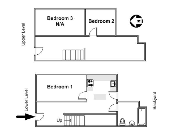 New York T4 - Duplex appartement colocation - plan schématique  (NY-3675)