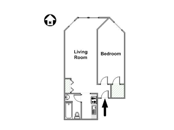 New York 1 Bedroom apartment - apartment layout  (NY-4664)