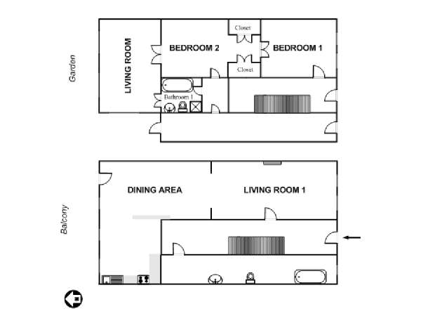 New York T3 - Duplex logement location appartement - plan schématique  (NY-6799)