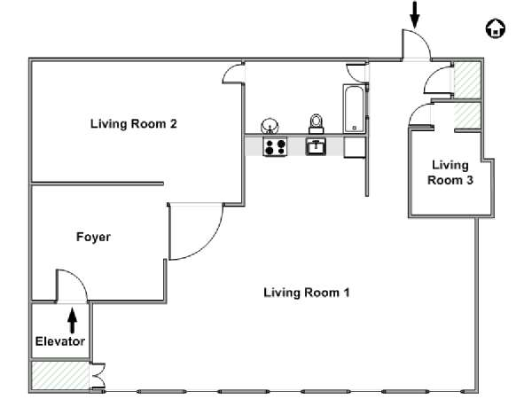 New York Alcove Studio - Loft apartment - apartment layout  (NY-6917)
