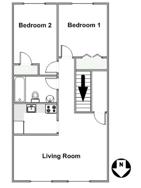 New York 2 Bedroom apartment - apartment layout  (NY-7750)