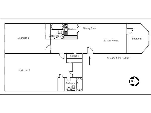 New York 3 Bedroom roommate share apartment - apartment layout  (NY-7807)