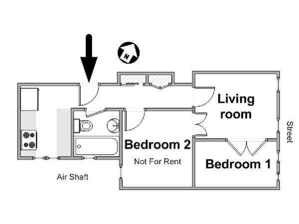 New York 2 Bedroom roommate share apartment - apartment layout  (NY-7908)