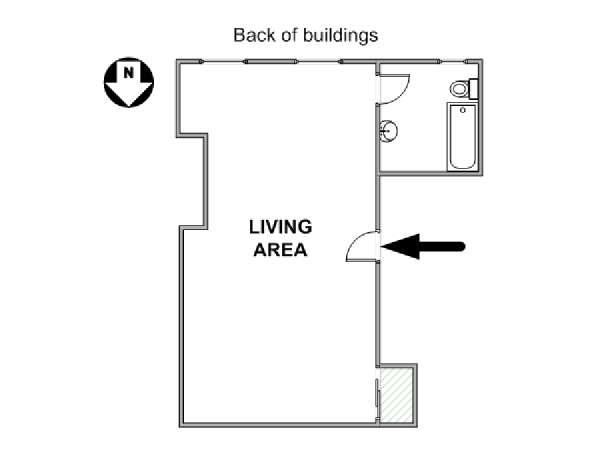 New York Studio apartment - apartment layout  (NY-8015)