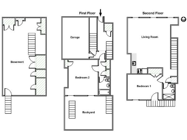 New York 2 Bedroom - Triplex roommate share apartment - apartment layout  (NY-9273)
