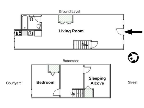 New York 1 Bedroom - Duplex apartment - apartment layout  (NY-9825)