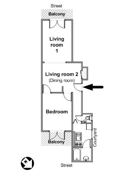 Paris 1 Bedroom apartment - apartment layout  (PA-228)