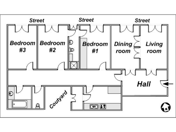 Paris 3 Bedroom accommodation - apartment layout  (PA-791)