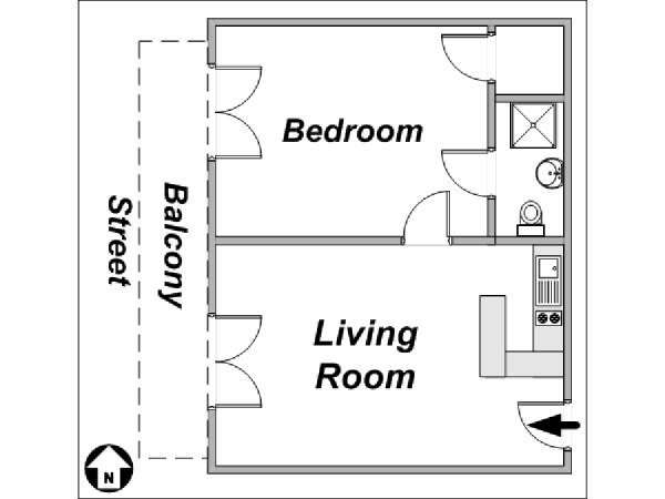 Paris 1 Bedroom accommodation - apartment layout  (PA-882)