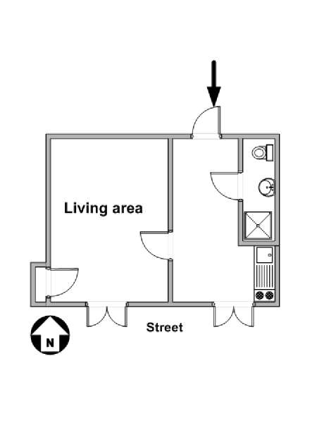 Paris Studio accommodation - apartment layout  (PA-925)