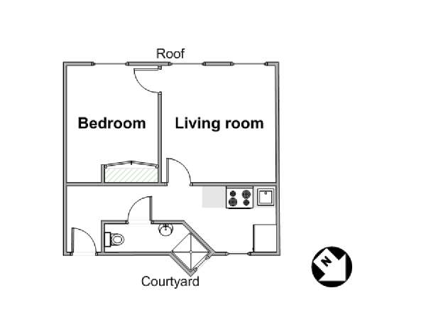 Paris 1 Bedroom apartment - apartment layout  (PA-943)