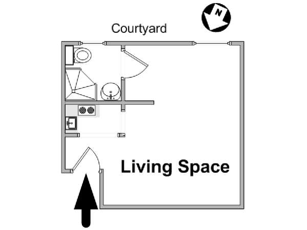 Paris Studio apartment - apartment layout  (PA-1198)