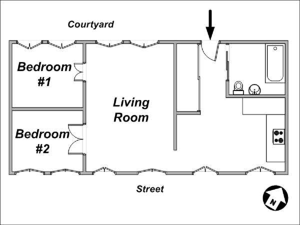 Paris 2 Bedroom apartment - apartment layout  (PA-1344)
