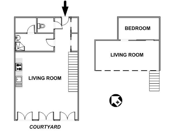 Paris T2 - Loft - Duplex logement location appartement - plan schématique  (PA-1364)