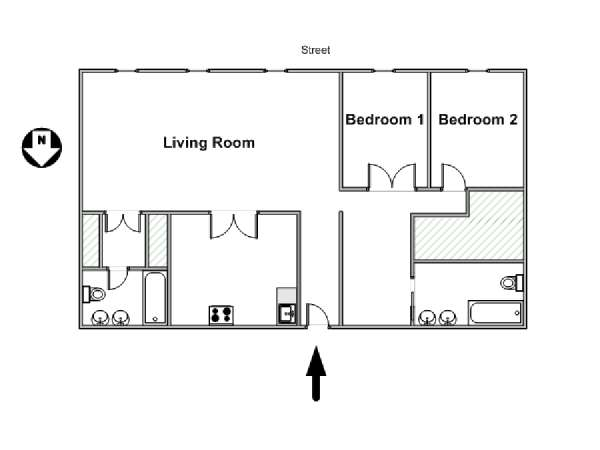 Paris 2 Bedroom apartment - apartment layout  (PA-1460)