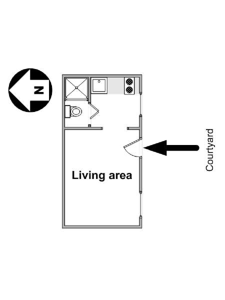 Paris Studio apartment - apartment layout  (PA-1570)