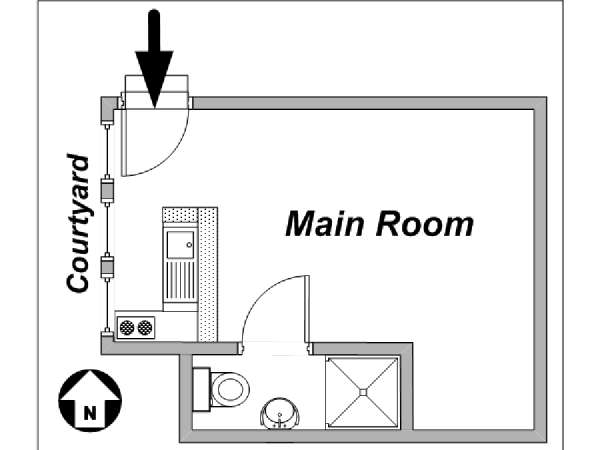 Paris Studio apartment - apartment layout  (PA-1605)
