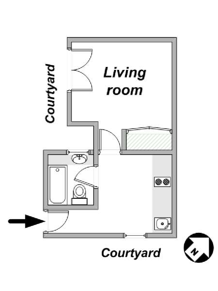 Paris Studio apartment - apartment layout  (PA-1891)
