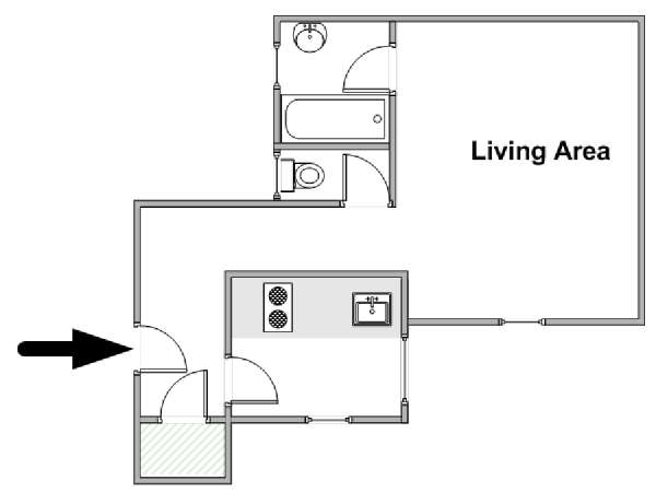 Paris Studio apartment - apartment layout  (PA-2394)