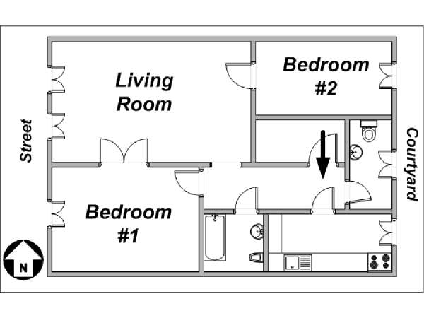 Paris 2 Bedroom apartment - apartment layout  (PA-2597)
