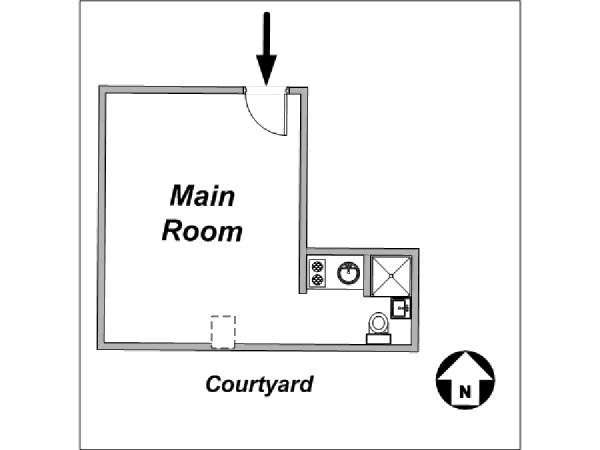 Paris Studio accommodation - apartment layout  (PA-2648)