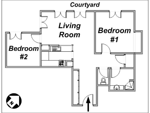 Paris 2 Bedroom apartment - apartment layout  (PA-2655)