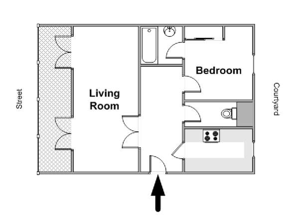 Paris 1 Bedroom apartment - apartment layout  (PA-2851)