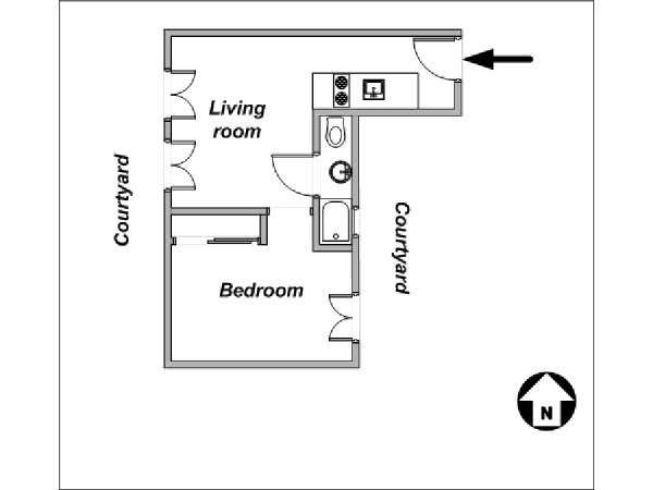 Paris 1 Bedroom apartment - apartment layout  (PA-2959)