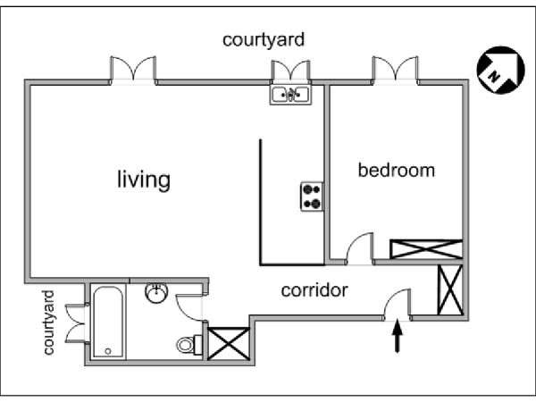 Paris 1 Bedroom apartment - apartment layout  (PA-2970)
