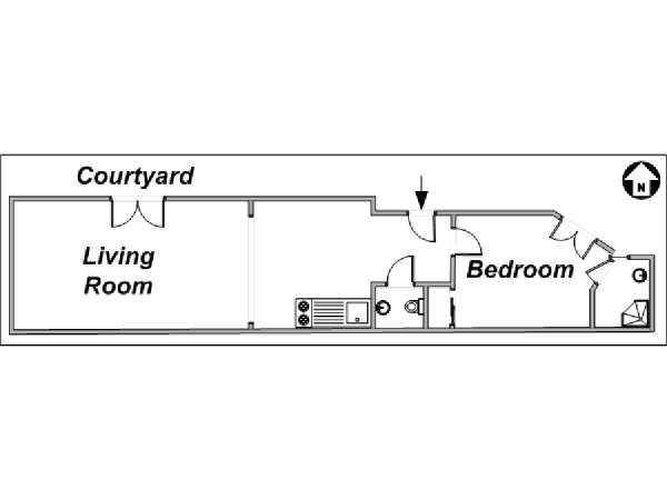Paris 1 Bedroom accommodation - apartment layout  (PA-3103)