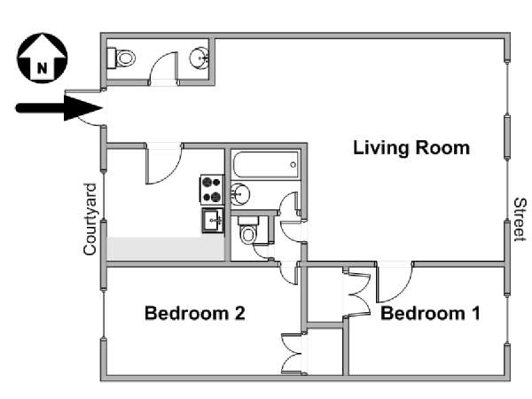 Paris 2 Bedroom accommodation - apartment layout  (PA-3106)