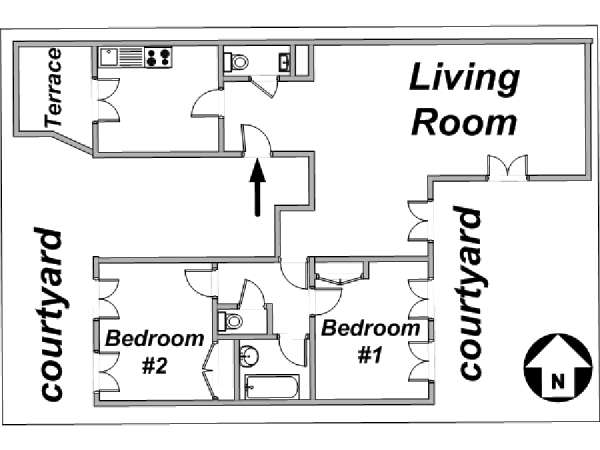 Paris 2 Bedroom accommodation - apartment layout  (PA-3108)