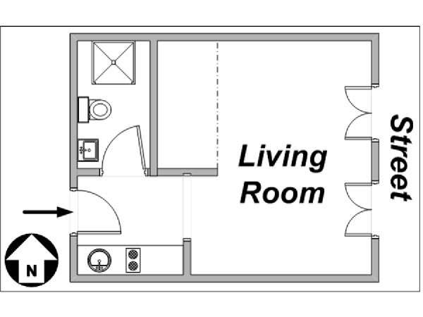 Paris Studio apartment - apartment layout  (PA-3152)